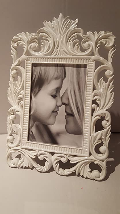 Marco Fotos Blanca de resina barroco Shabby Chic Country 32 x 21 cm ...