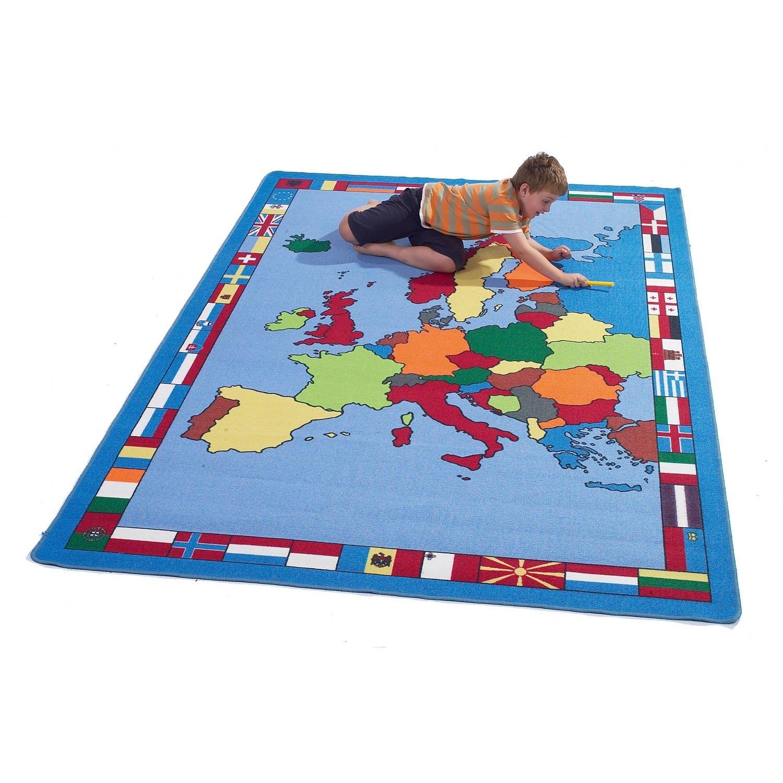 Giant European Map Rug  shows countries & flags