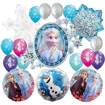 18PC FROZEN 2 ELSA ANA FOIL LATEX BALLOONS FOR BIRTHDAY PARTY THEME DECORATION SUPPLIES: Toys & Games