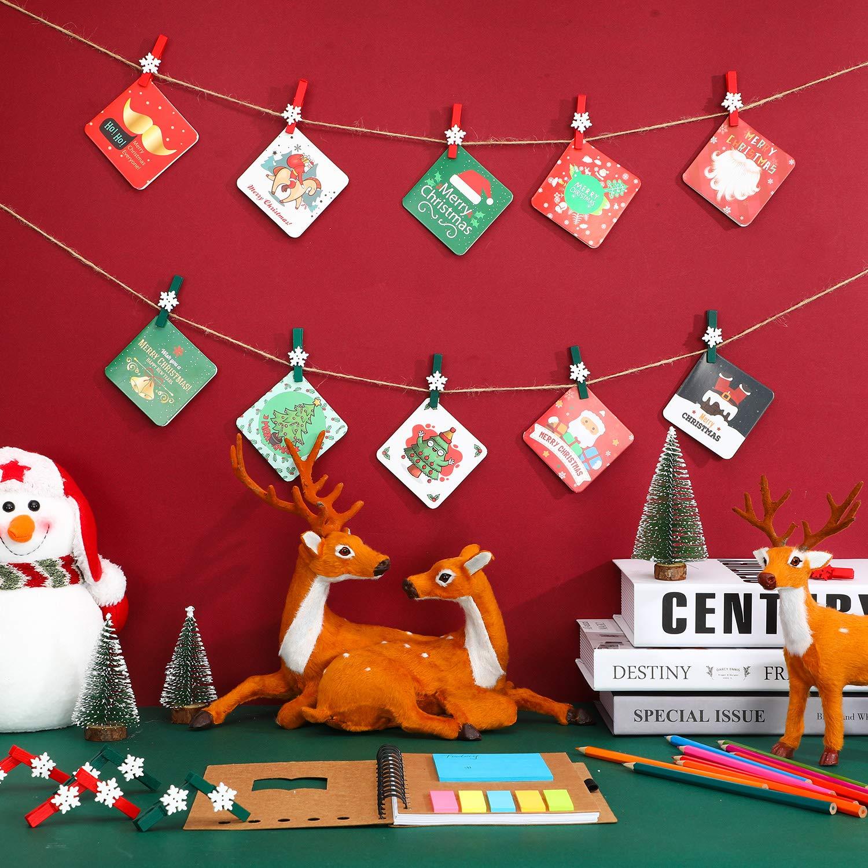 100 St/ücke Schneeflocke Holz Klammern Weihnachten Schneeflocke W/äscheklammern Foto DIY Holzklammern Kleine Handwerk Klammer mit 50 Meter Schnur 1,4 x 0,7 Zoll, Farbe 3