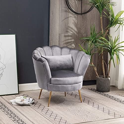 Modern Velvet Living Chair Accent Arm Chair Retro Upholstered Bedroom Chair Tufted Leisure Curved Tufted Armchair