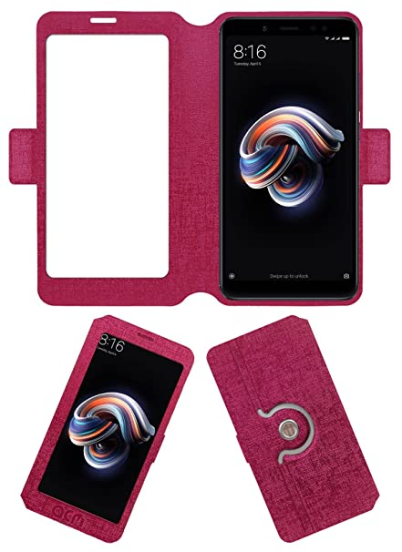 separation shoes f5d64 fd2a1 Acm SVIEW Window Designer Rotating Flip Flap Case for Mi Redmi Note 5 Pro  Mobile Smart View Cover Stand Pink