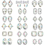 36 Pieces 3D Nail Art Rhinestones Crystal Glass Metal Gem Stones Manicure Studs Nail Tips for Nail Art DIY