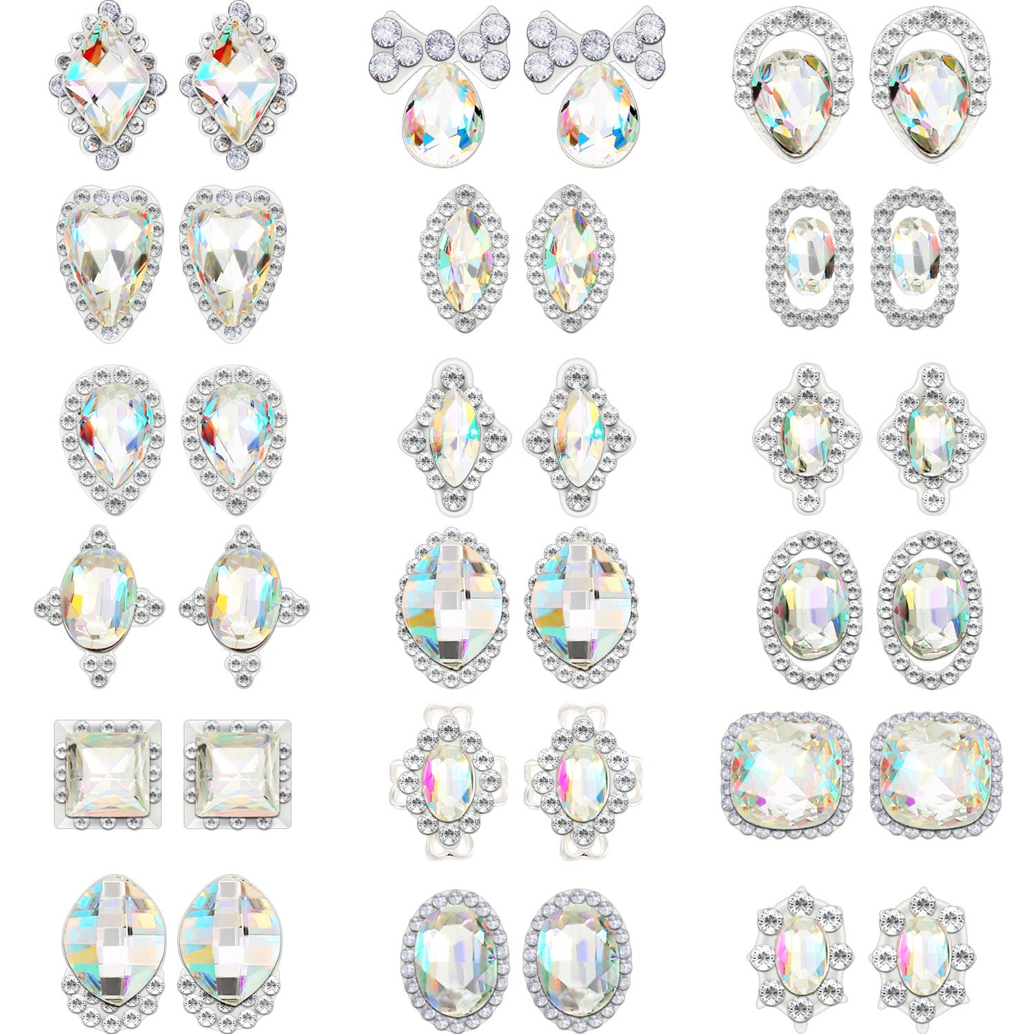 Bememo 36 Pieces 3D Nail Art Rhinestones Crystal Glass Metal Gem Stones Manicure Studs Nail Tips for Nail Art DIY (Style 1) by Bememo (Image #1)