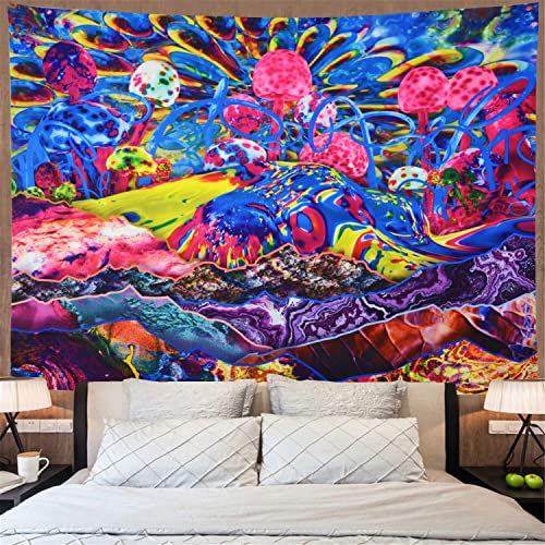 Psychedelic Mountain Tapestry Trippy Mushroom Tapestry Colorful Abstract Tapestry Hippie Art Tapestry Fantasy Bohemian Wall Hanging Tapestry for Bedroom Dorm X-Large, Trippy Mushroom