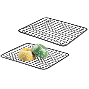 mDesign Modern Metal Wire Kitchen Sink Metal Dish Drying Rack/Mat - Steel Wire Grid Design - Allows Wine Glasses, Mugs, Bowls and Dishes to Drain in Sink - 2 Pack - Black