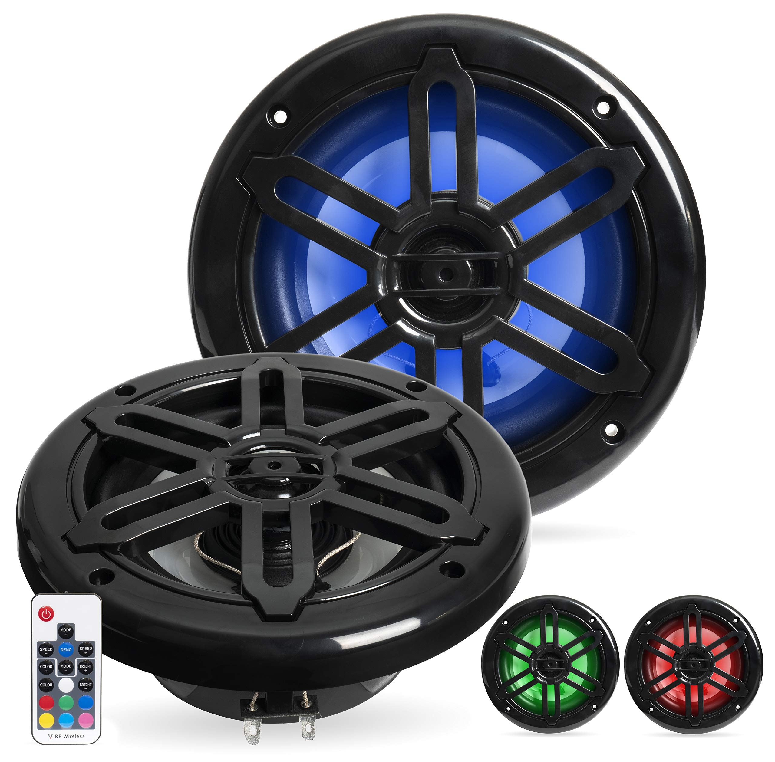 Belva BMRGBBK 500W Black 6.5-inch 2-Way Water-Resistant Marine Speakers with RGB Illumination by Belva
