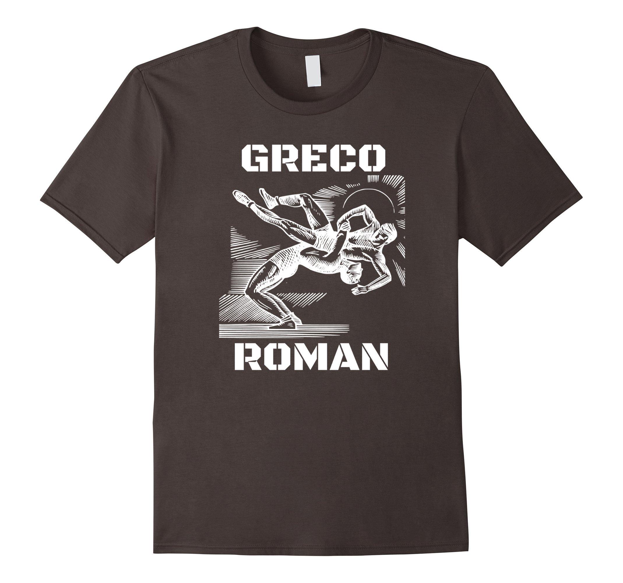 Mens Greco Roman Wrestling T-Shirt USA XL Asphalt by Greco Roman T-Shirt