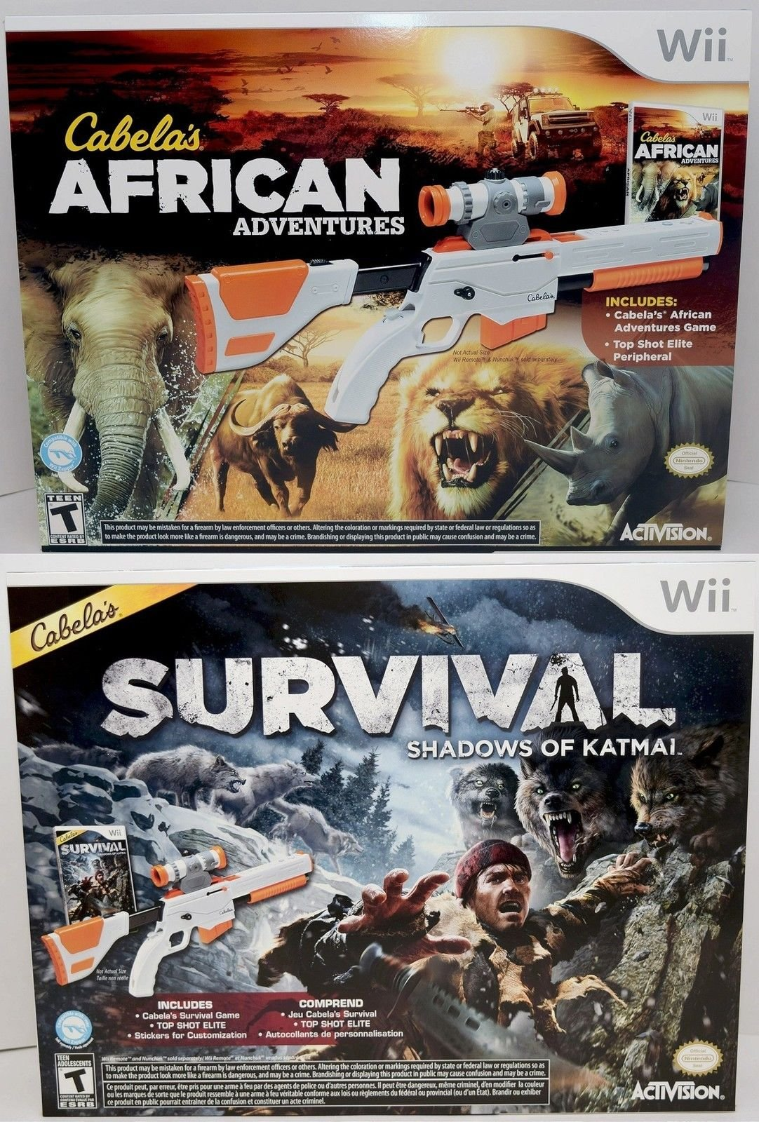 Wii/Wii-U Cabela's African Adventures & Survival Shadows of Katmai Hunting Game Bundle Set