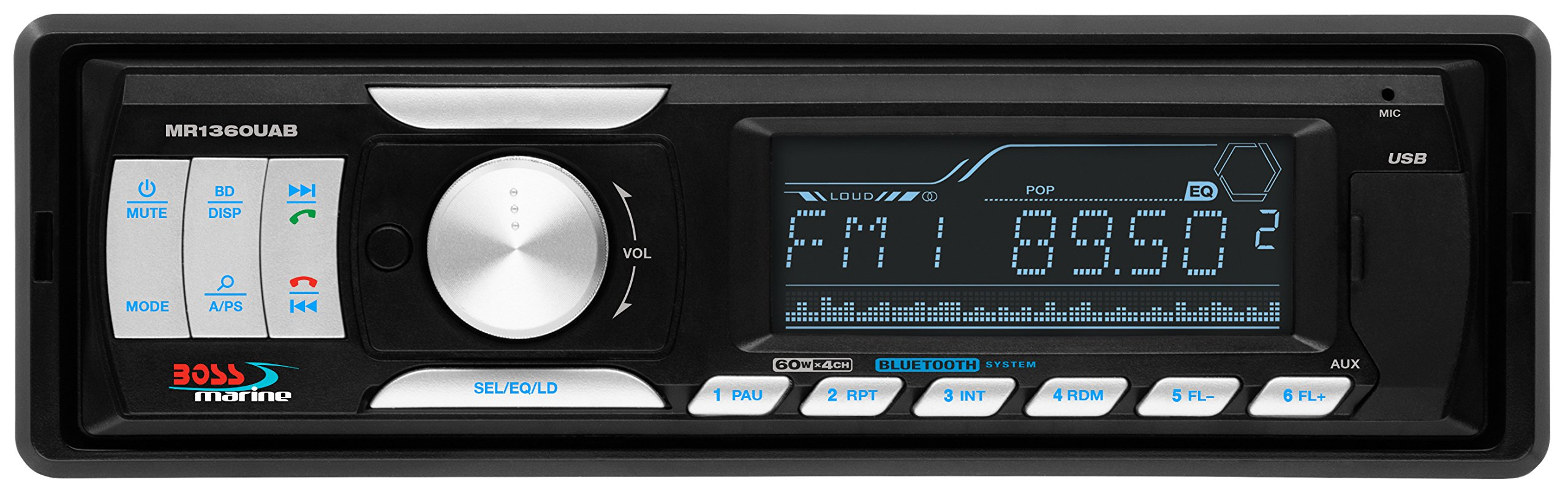 BOSS AUDIO MR1360UAB Marine Single-DIN MECH-LESS Receiver, Bluetooth, Wireless Remote