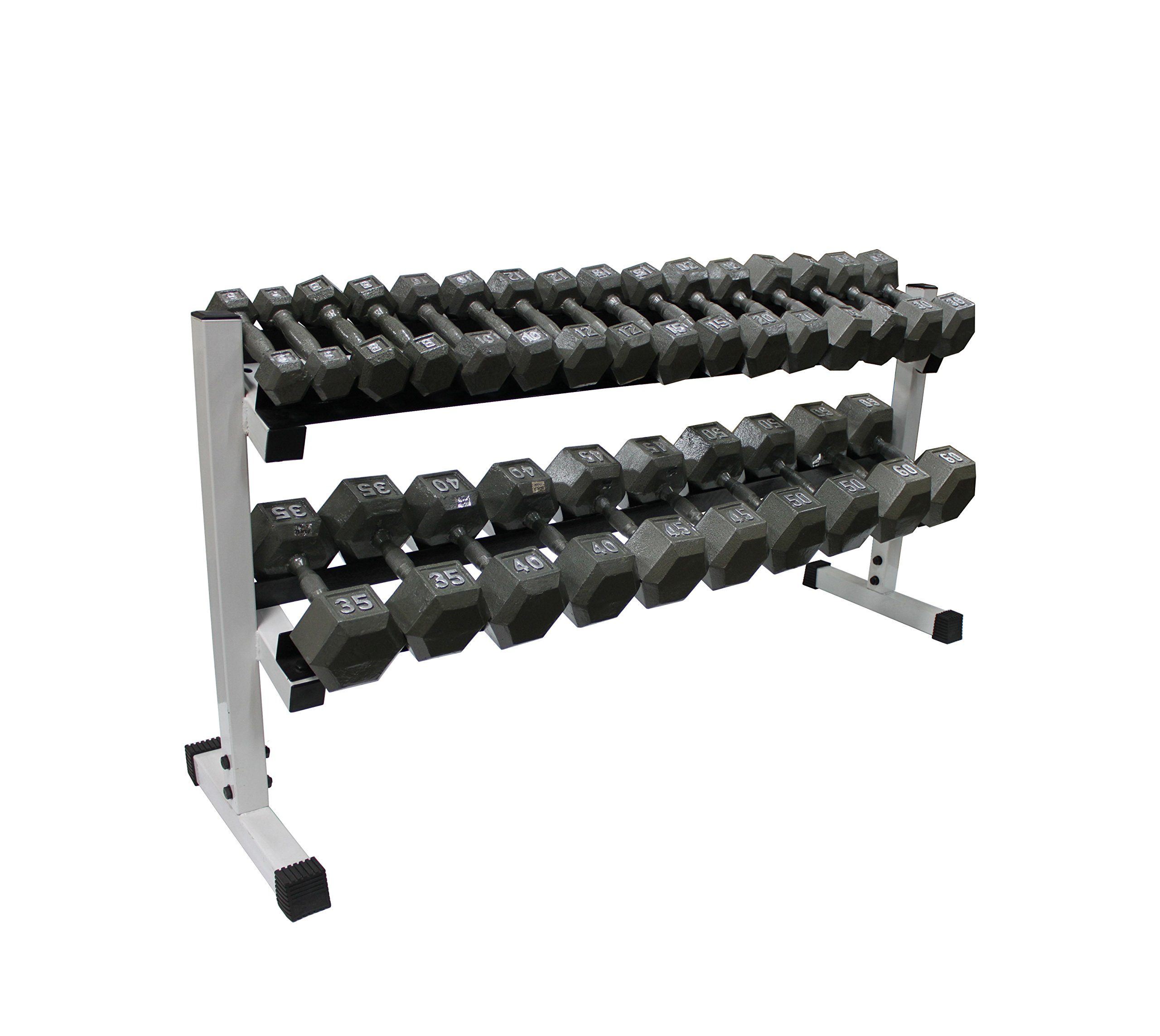 2-tier 60'' Dumbbell Rack w/ Hex Dumbbells