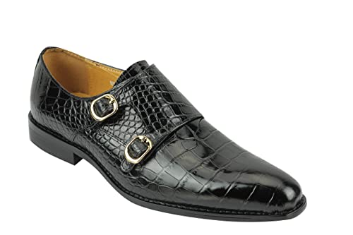 d5e3347cce Xposed Mens Real Leather Polished Crocodile Print Double Monk Strap Loafers  Formal Slip on Shoes Black
