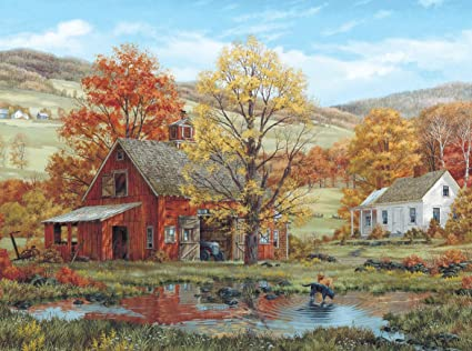 amazon com white mountain puzzles friends in autumn 1000 piece
