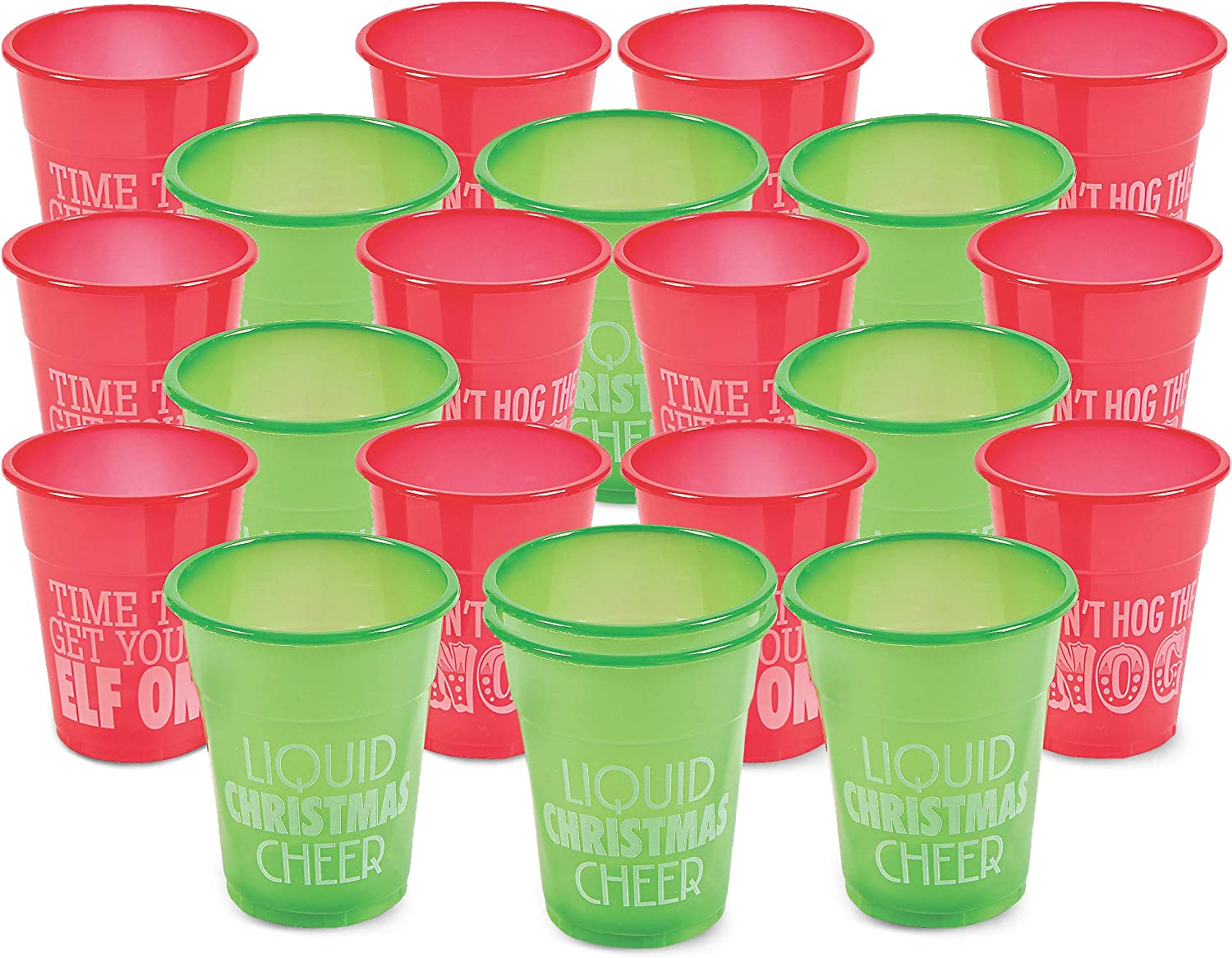 Christmas Plastic Humorous Cups Bulk, Pack of 50 Holiday Deposable Party Drinking Cups, Green and Red, By 4E's Novelty