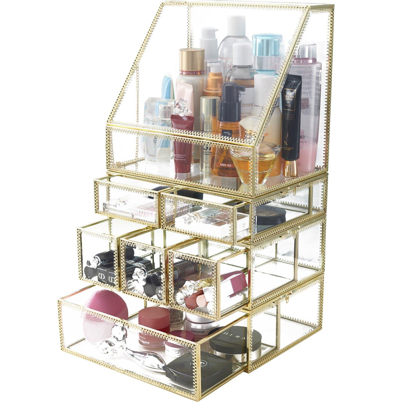 Hersoo High End Lipstick Holder Dust Free Glass Transparent Lip Gloss Eye  Liner Vanity Cabinet Makeup ...