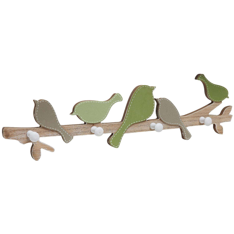 Decorativo verde pájaros sobre una rama de árbol madera ...