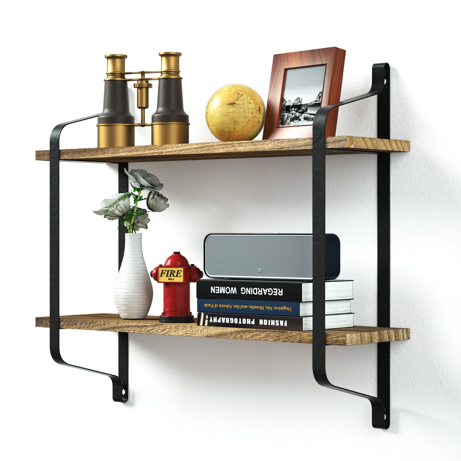 Love-KANKEI Rustic Floating Shelves Wall Mounted, Industrial Wall Shelves Pantry Living Room Bedroom Kitchen Entryway, 2 Tier Wood Storage Shelf Dark Brown