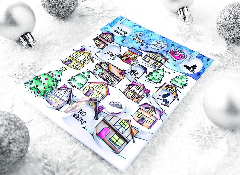 Peek-A-Boo Winter Village HERO ARTS CG784 Cling STMP WNTR VILLG