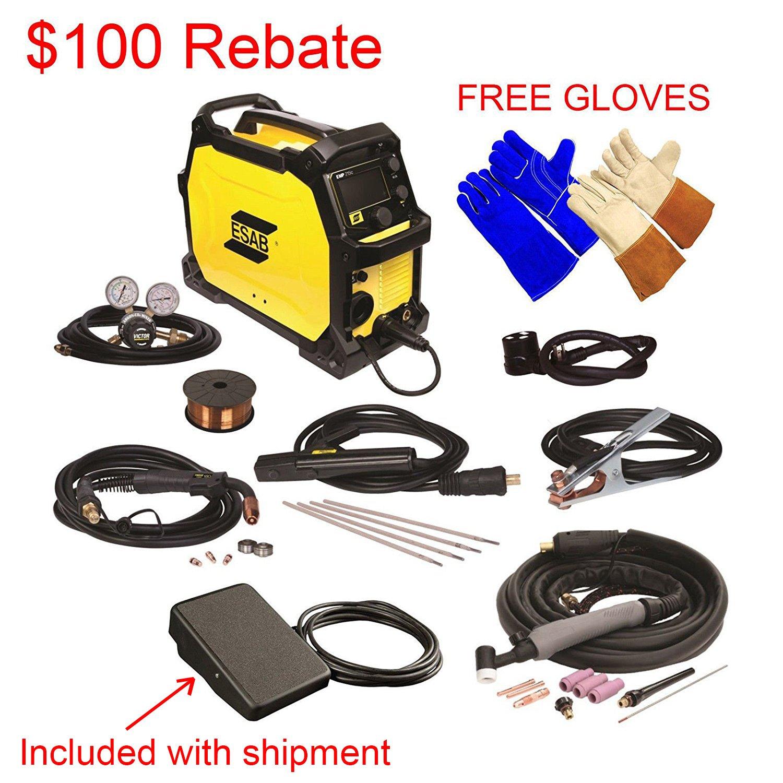 ESAB Rebel EMP 215ic MIG/Stick/Tig Welding Machine w/ Foot Control, 2 Gloves