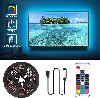 Jayol - Iluminación de fondo para televisor LED (2 m, USB, para televisores de 40 a 60 pulgadas, pantalla de TV y monitor de PC, tira LED con mando a distancia de