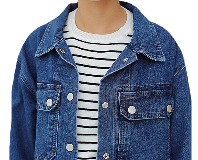 Pilusooou Womens Fashion All-match Loose Pockets Denim Jackets