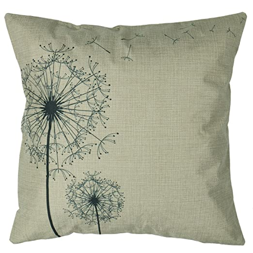 """Luxbon Morden Stylish Simplicity Dandelion Floral """"As You Wish"""" Cotton Linen Sofa Couch Chair Throw Pillowcase Cushion Cover Decorative Insert Not Included"""