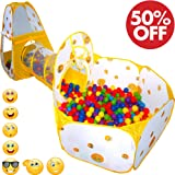 Playz 3pc Emoji Toys Kids Pop Up Play Tent Crawl Tunnel & Ball Pit with Basketball Hoop Playhouse for Boys, Girls, Babies, and Toddlers - Indoor & Outdoor Use w/ Zipper Storage Case (Yellow Emoticon)