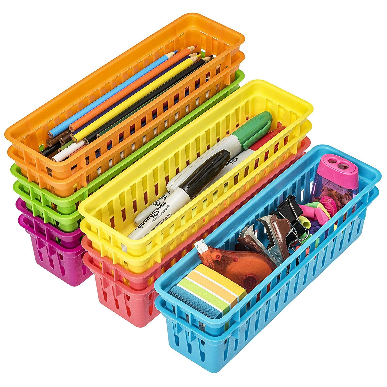 Prextex Classroom Pencil Organizer Pencil Basket or Crayon Basket, Variety Colors (12 pack)