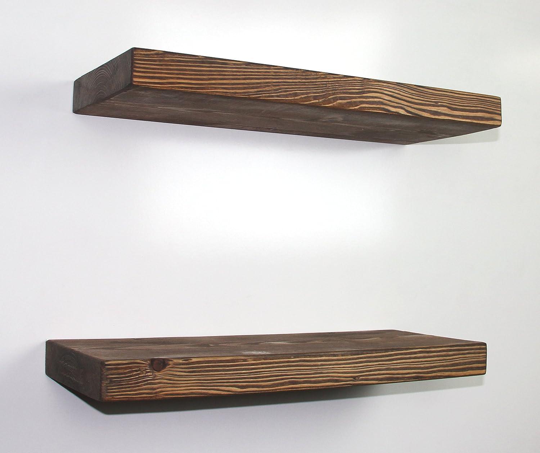 "SOLID RUSTICS Handmade Rustic Wood DEEP Floating Wall Shelves, Walnut, (Set of 2) (Walnut, 18"" W x 7 1/4"" D x 1 1/2"" H)"