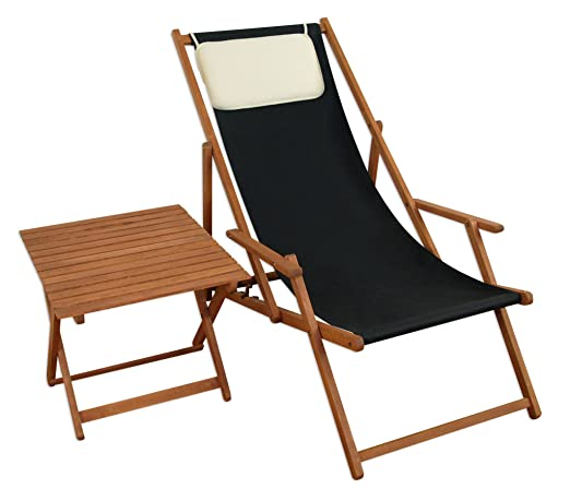 Deck Chair Negro tumbonas de jardín silla de playa mesa Cojín haya ...