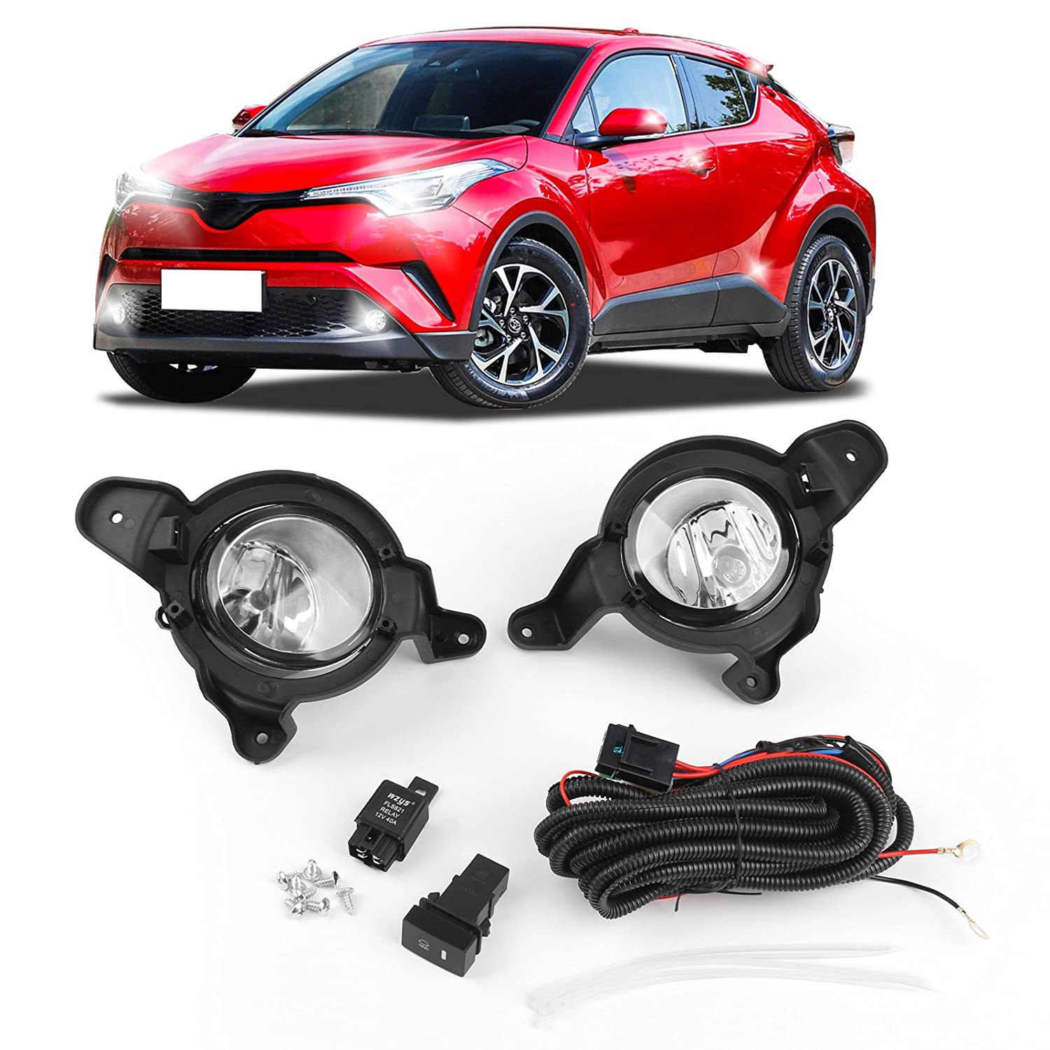 Areyourshop Front Bumper Light Fog Lamp w/Wires Switch Emark For Toyota C-HR CHR 2017 2018