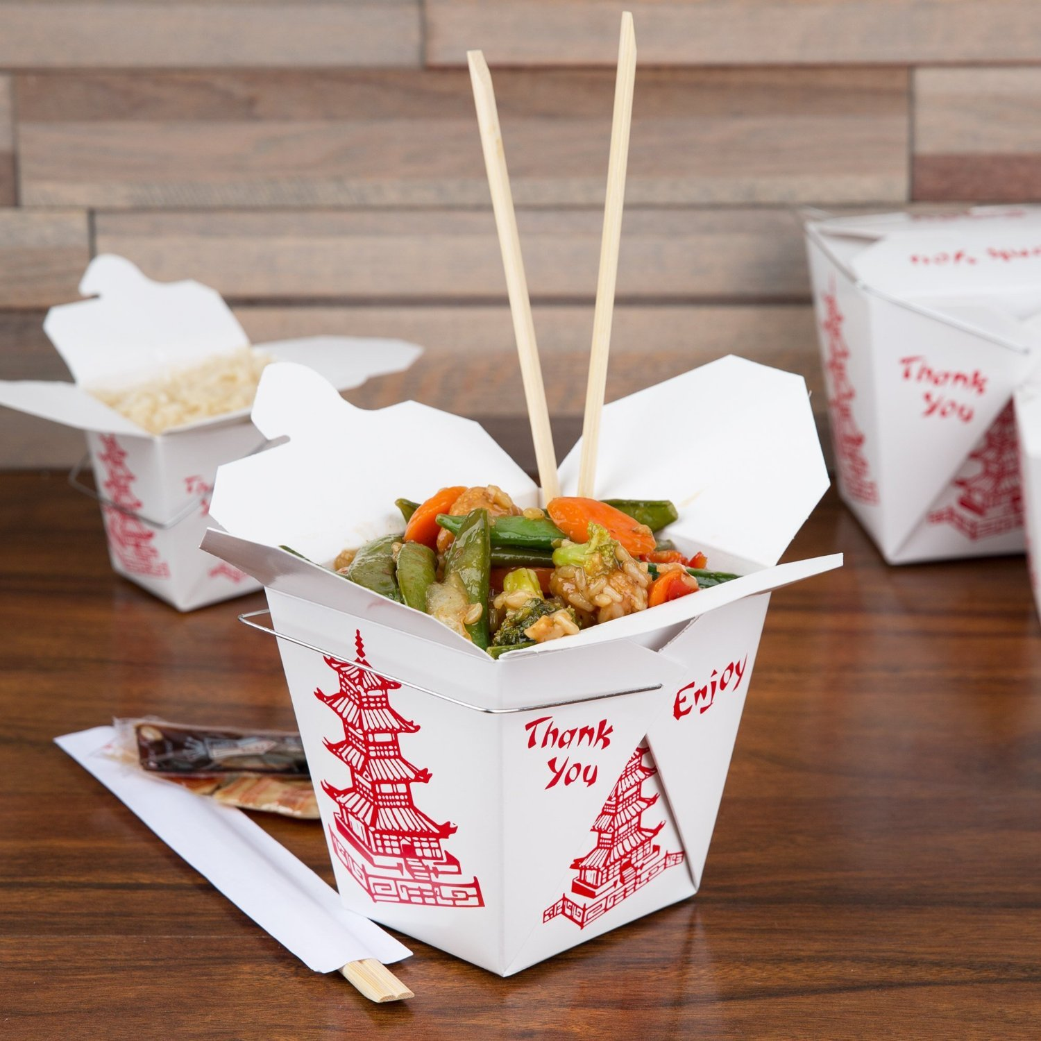 50, 32-Ounce Grease and Leak Resistant Restaurant Grade Boxes with Wire Handle MM Foodservice Chinese Take Out Boxes