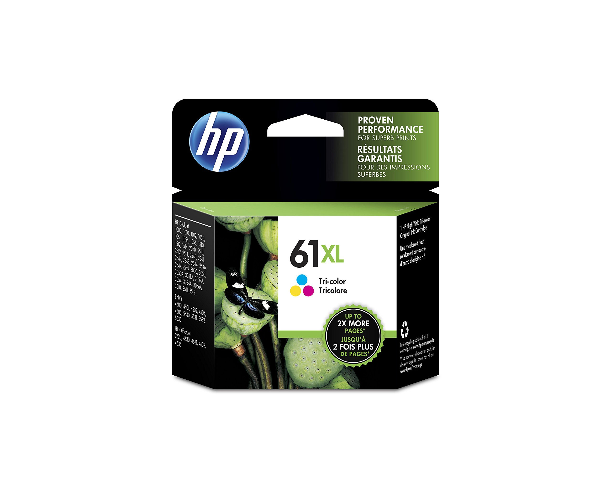HP 61XL Ink Cartridge, Tri-color High Yield (CH564WN) for HP Deskjet 1000 1010 1012 1050 1051 1055 1056 1510 1512 1514 1051 2050 2510 2512 2514 2540 2541 2542 2543 2544 2546 2547 3000 3050 3051 3052 3054 3056 3510 3511 3512HP ENVY 4500 4502 4504 5530 5531