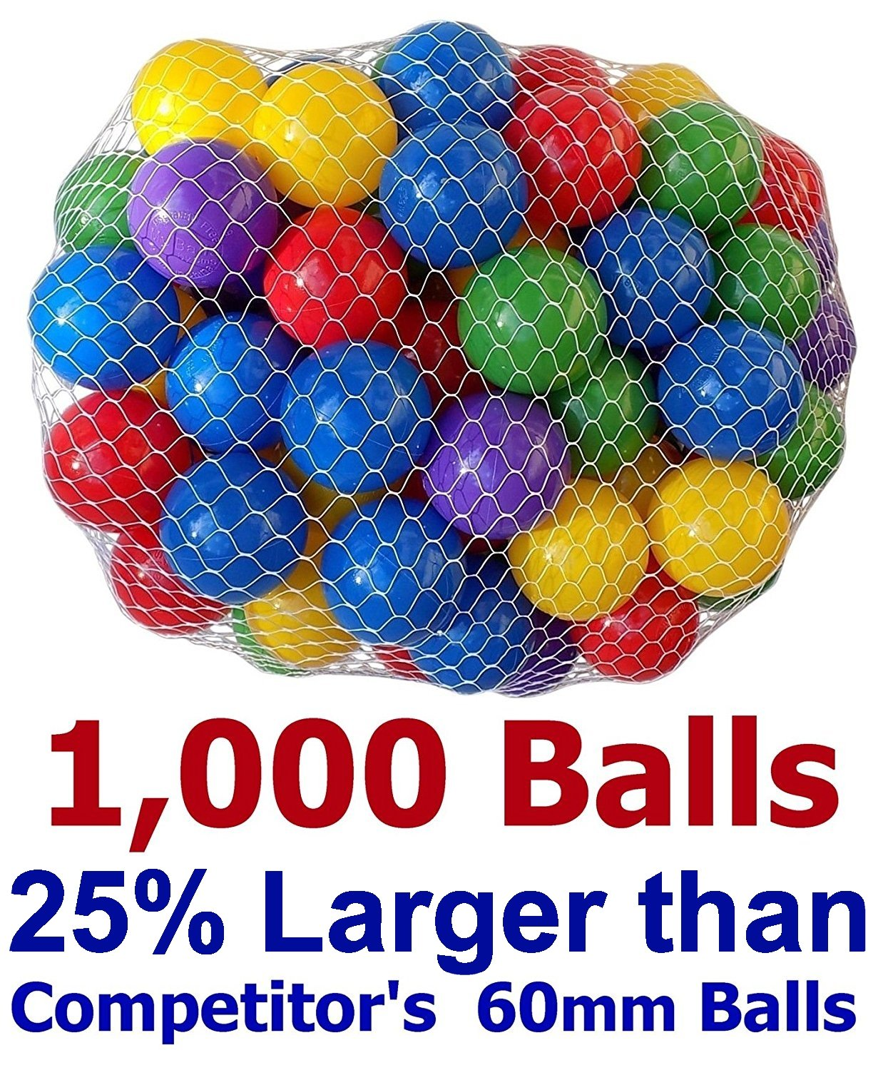 My Balls Pack of 1000 pcs 2.5'' True to Size Balls Phthalate Free BPA Free Crush Proof Plastic Balls in 5 Bright Colors by My Balls (Image #1)