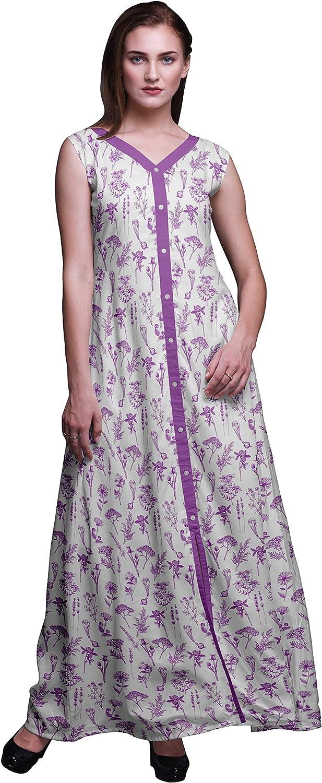 Bimba Women V Neck Sleeveless Front Slit Casual Summer Maxi Printed Boho/Dress