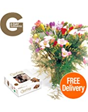 Fresh Flowers Delivered - 10 Mixed Freesias Bouquet with Chocolates, Flower Food and Bonus Ebook Guide - Delivery Included - Perfect for Birthdays, Anniversaries and Thank You Gifts - 8 Day Guarantee