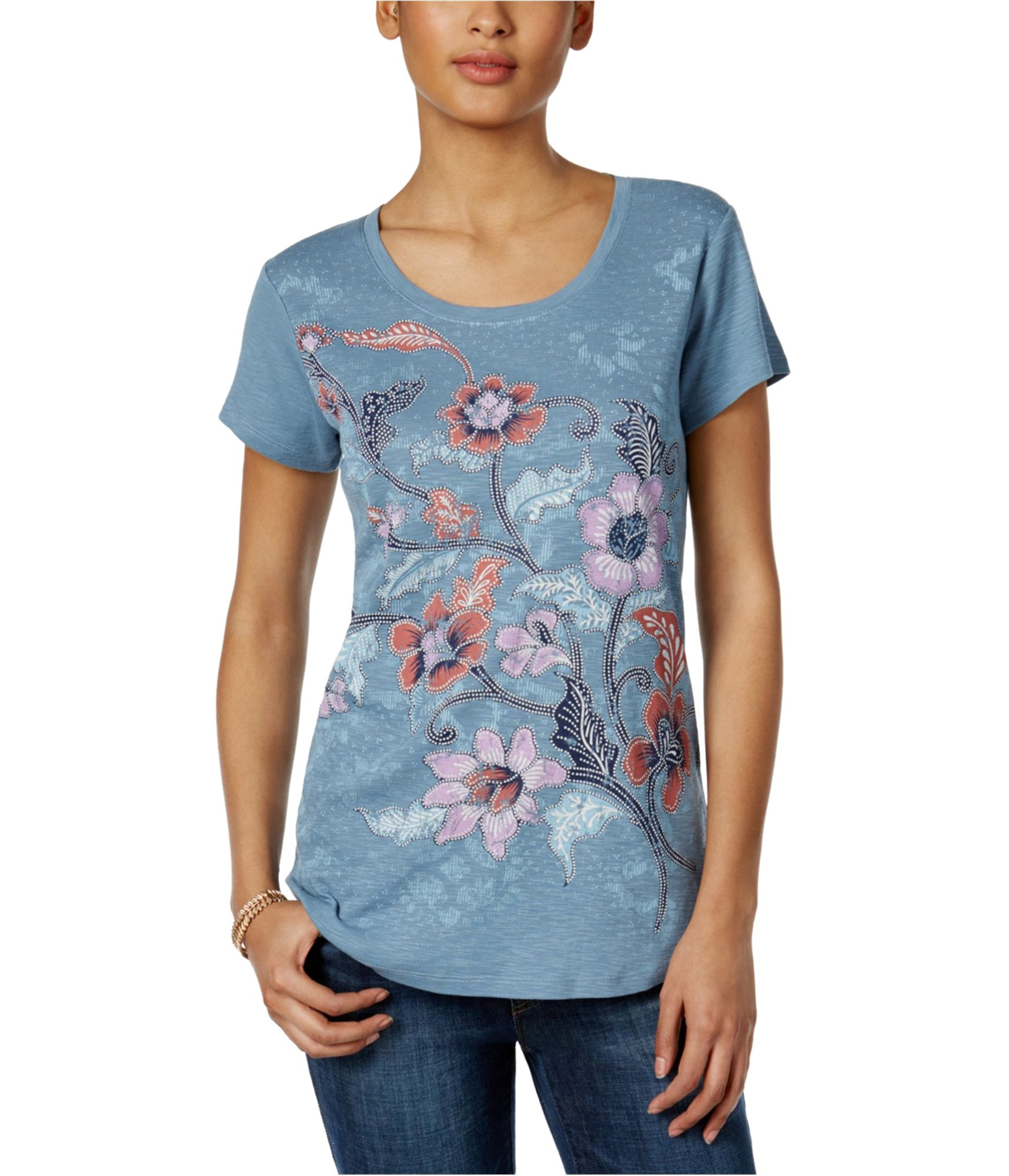 Style & Co.. Womens Floral Graphic T-Shirt Blue XL