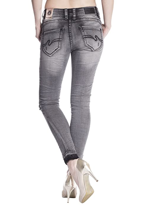Blue Monkey Damen Cropped Jeans Laura-3703-B Grau Size 28: Amazon.de:  Bekleidung