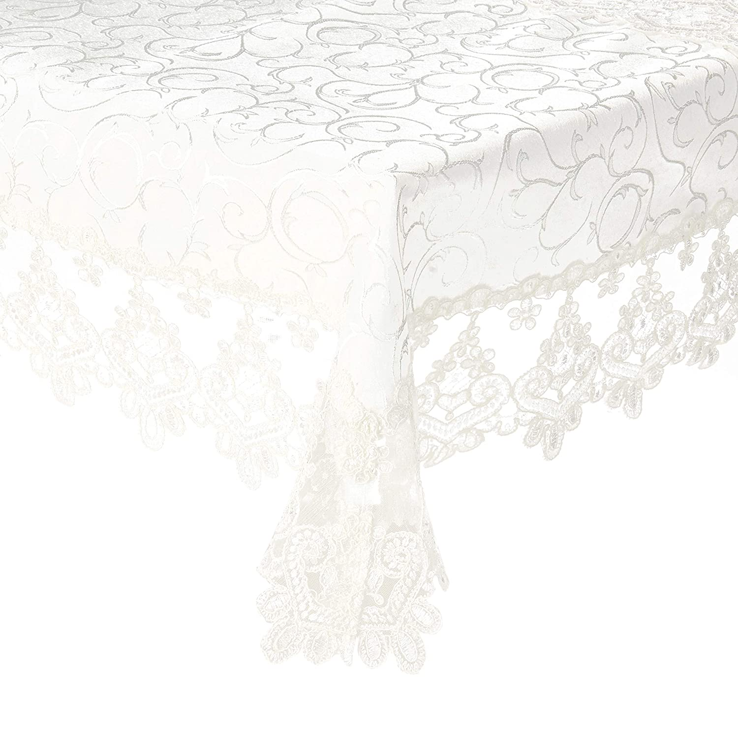 Violet Linen Glory Embroidered Vintage Lace Design Oblong//Rectangle Tablecloth 70 x 180 Cream