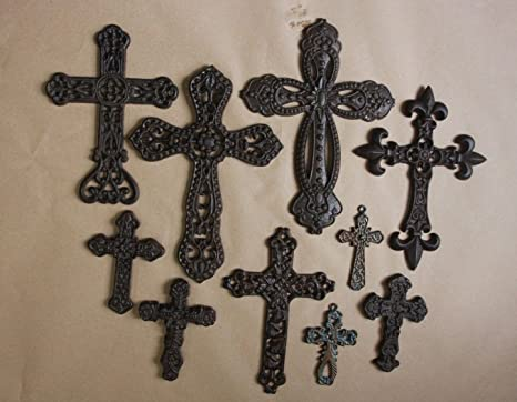 Amazon Com Tuscan Villa Decor Cast Iron Wall Crosses Tuscany