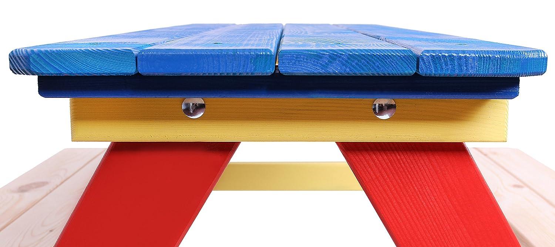 /Multi Color Infantil Asiento banco de picnic de Jard/ín de Madera/