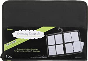 """Darice Embossing Folder Organizer – Holds 40, 5""""x7"""" Folders – High Quality Black Nylon Zippered Case with 40 Storage Pockets – Keep Embossing Folders Neat, Organized and Protected, 16.75""""x11.75""""x1.75"""""""