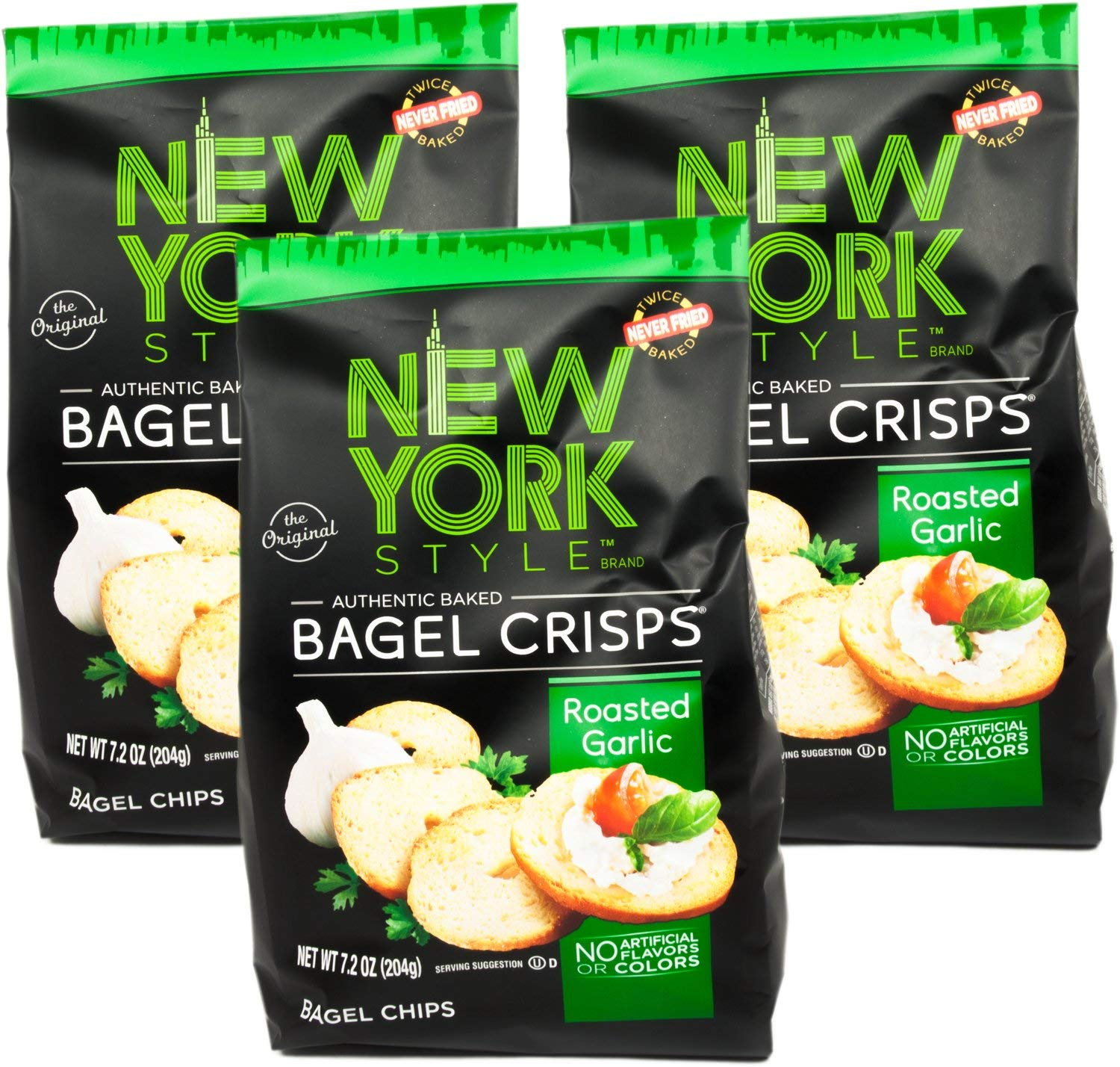 New York Style Garlic Bagel Crisps, 7.2 oz - PACK OF 6 by New York Style