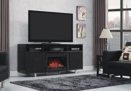 ClassicFlame 26MM9665-NB157 Enterprise Lite Contemporary TV Stand for TVs up to 80 , Gloss Black Electric Fireplace Insert sold separately