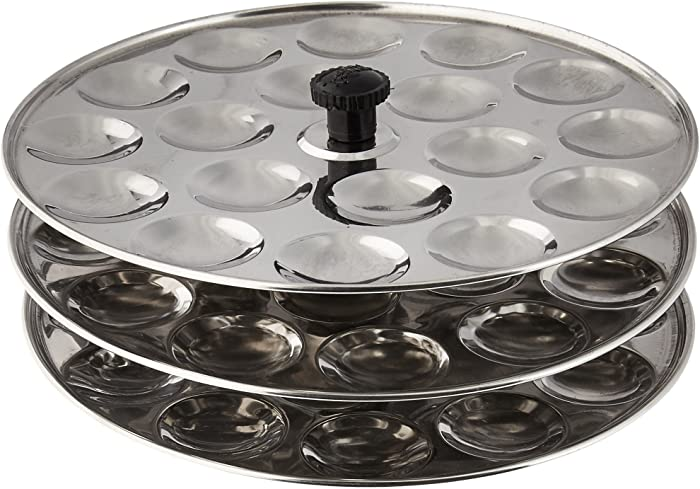 Tabakh 3-Rack Stainless Steel Mini Idli Stand, Makes 54 Idlys