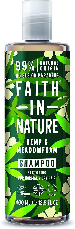 Faith in Nature Acondicionador Natural de Cáñamo y Aceite de Semillas Meadowfoam, Reparador, Vegano y No Testado en Animales, sin Parabenos ni SLS, para Cabello Normal a Seco, 400 ml