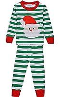Cnlinkco Family Christmas Pajamas Holiday Striped Matching Sleepwear Sets for Men, Women, Kids