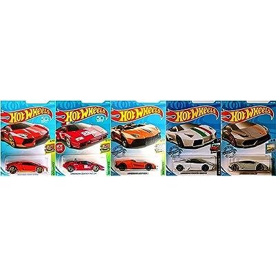 Hot Wheels Lamborghini 5 Car Set Bundle Includes Huracan Reventon Aventador J Countach Avendator Miura Homage Version 3: Toys & Games