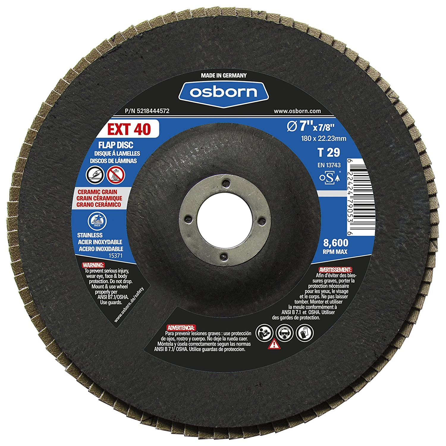 T29 7 Type Pack of 10 7 x 7//8 Pack of 10 Osborn 5218444572 29 Ceramic 40 Grit Flap Disc EXT 40 7 x 7//8 7 Type