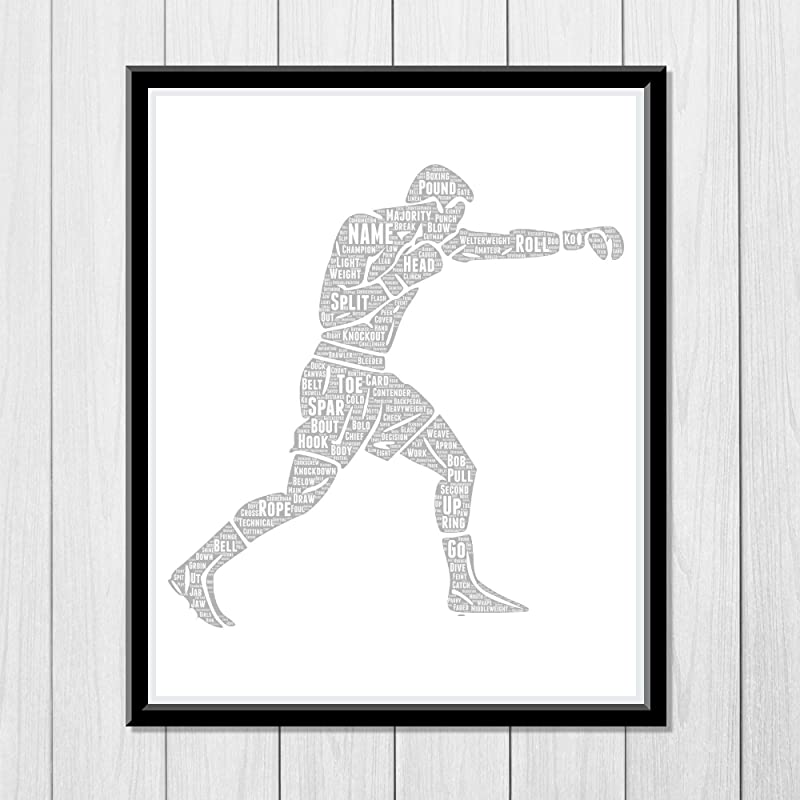 Boxing Gifts for Men - Personalized Gift for Boys - Sports Typography Wordle Wordart Portrait Wall Decor Print 8x10 Inch…